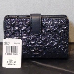 COACH MEDIUM CORNER ZIP WALLET Charcoal F39172